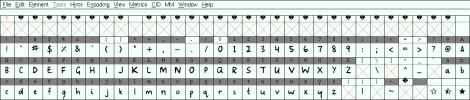 FontForge's Outline window showing each glyph in the font.